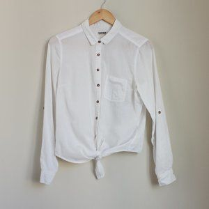 Garage Long Sleeve White Tie Front Blouse